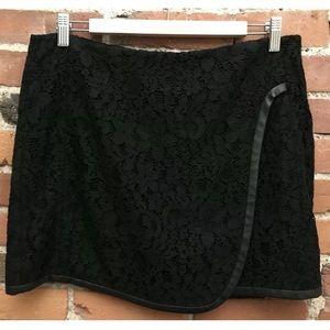 Rebecca Taylor Black Lace Faux Wrap Skirt
